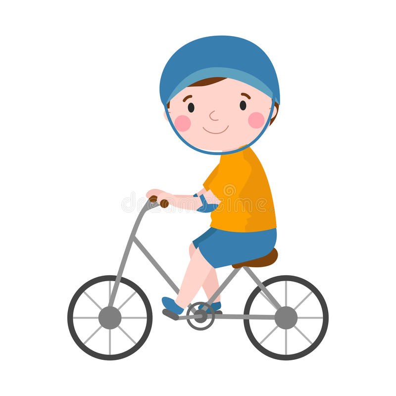 Activity boy on bike young fun sport happy child active lifestyle cartoon recreation and little kid cyclist healthy. Childhood leisure vector illustration stock illustration