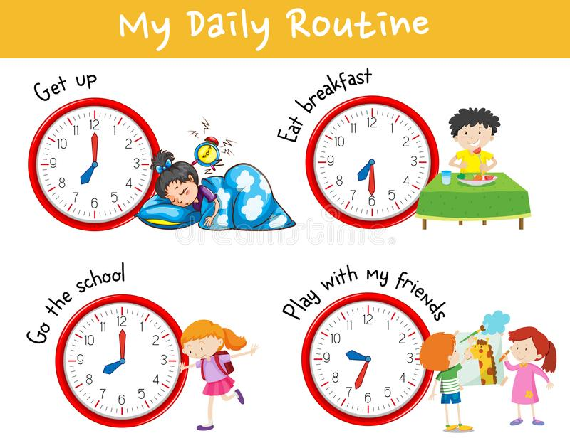 Activity chart showing different daily routine of kids royalty free illustration