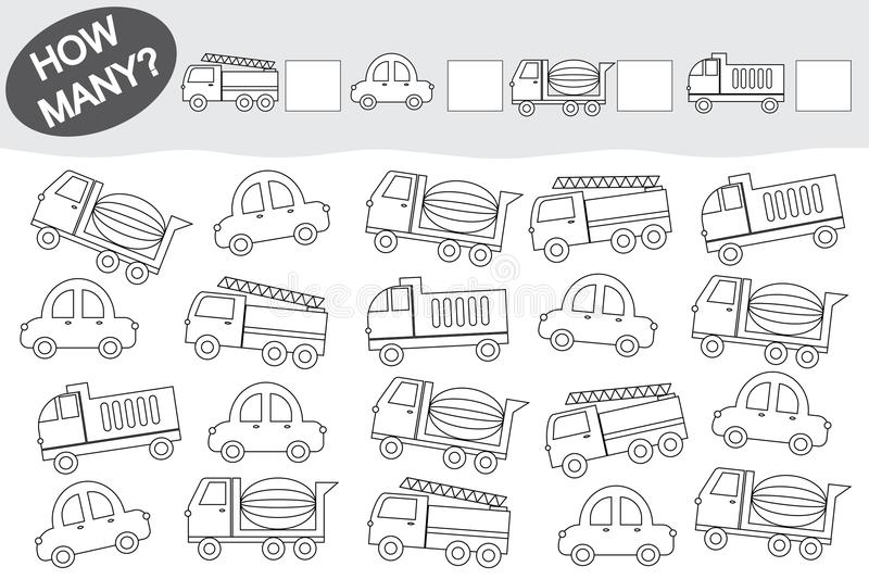 Activity for children. Counting educational game. Coloring book. Transport.  stock illustration