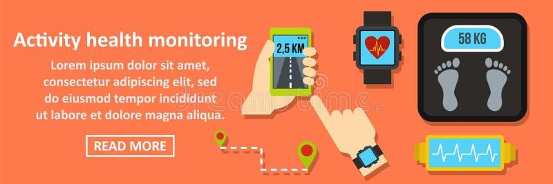 Activity health monitoring banner horizontal concept vector illustration