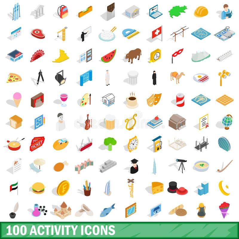 100 activity icons set, isometric 3d style royalty free illustration