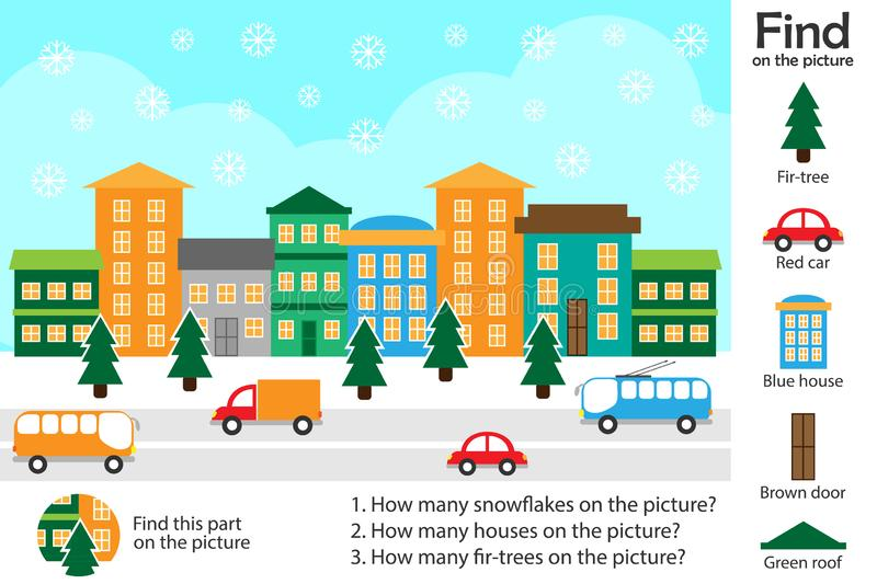 Activity page, christmas picture in cartoon style, find images and answer the questions, visual education game for the development. Of children, kids preschool royalty free illustration
