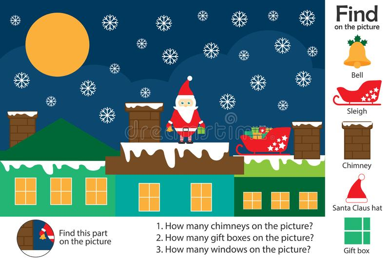 Activity page, christmas picture in cartoon style, find images and answer the questions, visual education game for the development. Of children, kids preschool stock illustration