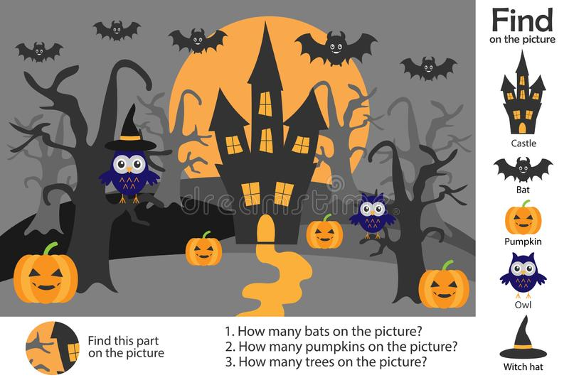 Activity page, halloween picture in cartoon style, find images, answer the questions, visual education game for the development of. Children, kids preschool stock illustration