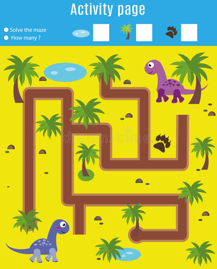 Activity page for kids. Educational game. Maze and counting game. Help dinosaurs meet. Fun for preschool years children vector illustration