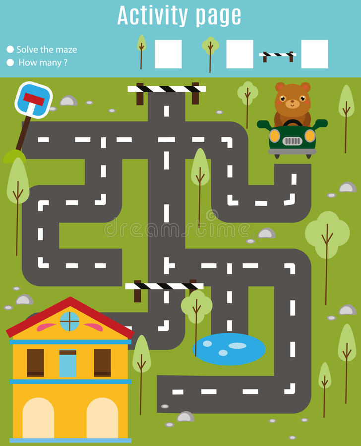 Activity page for kids. Educational game. Maze and find objects theme. Help bear find home. For preschool years children stock illustration
