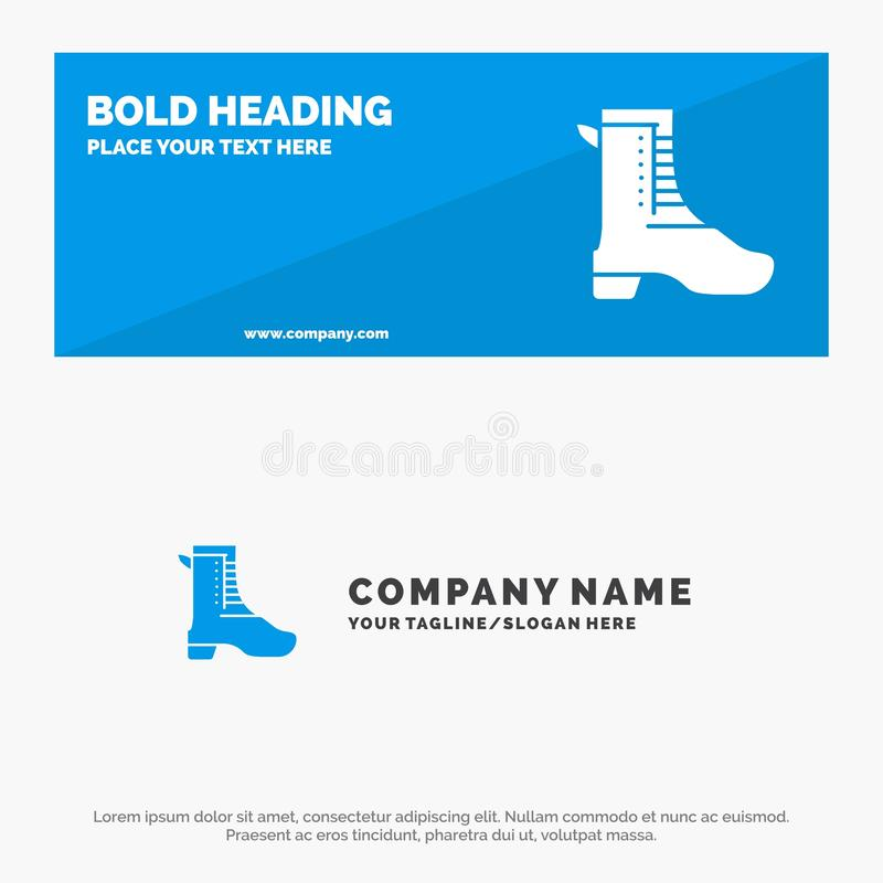 Activity, Running, Shoe, Spring SOlid Icon Website Banner and Business Logo Template royalty free illustration
