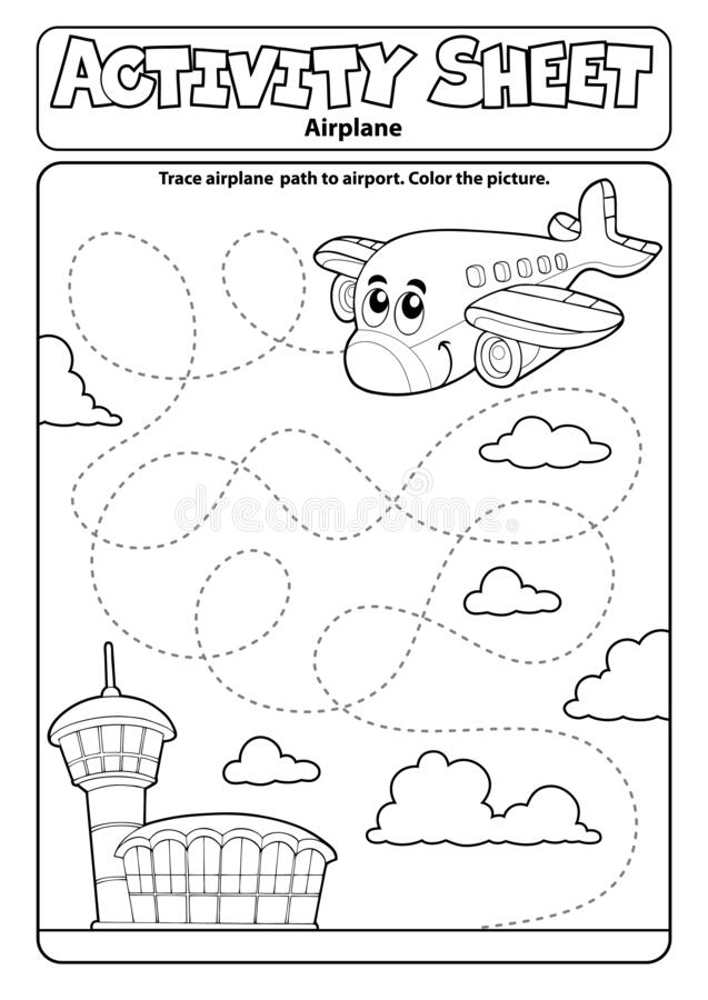 Free Activity Sheet Airplane Theme 1 Royalty Free Stock Photography - 186032067