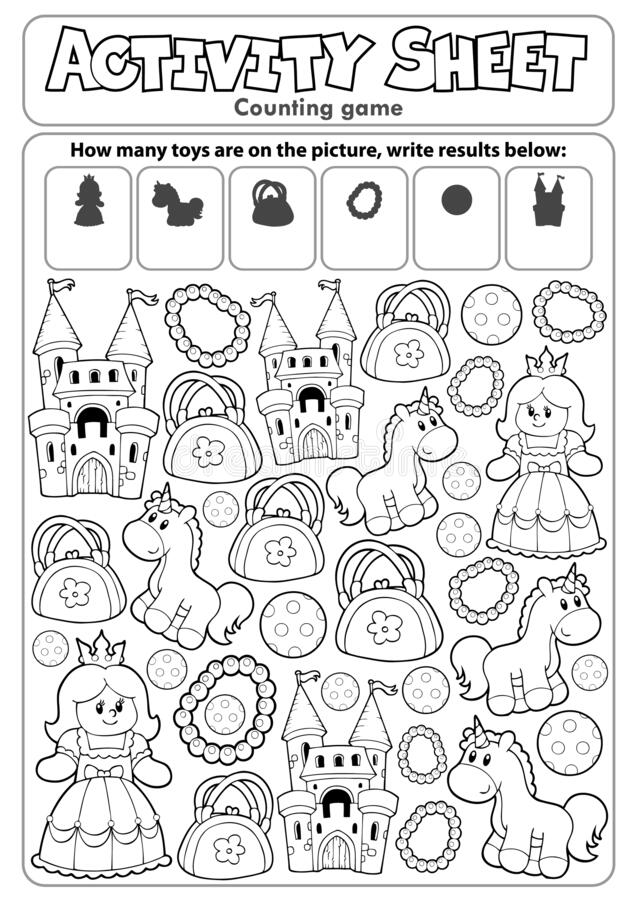 Free Activity Sheet Counting Game 8 Royalty Free Stock Photography - 178156087