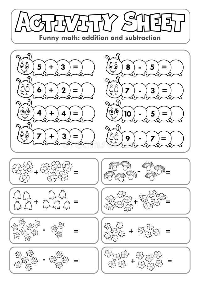 Free Activity Sheet Math Theme 5 Stock Photography - 177428312