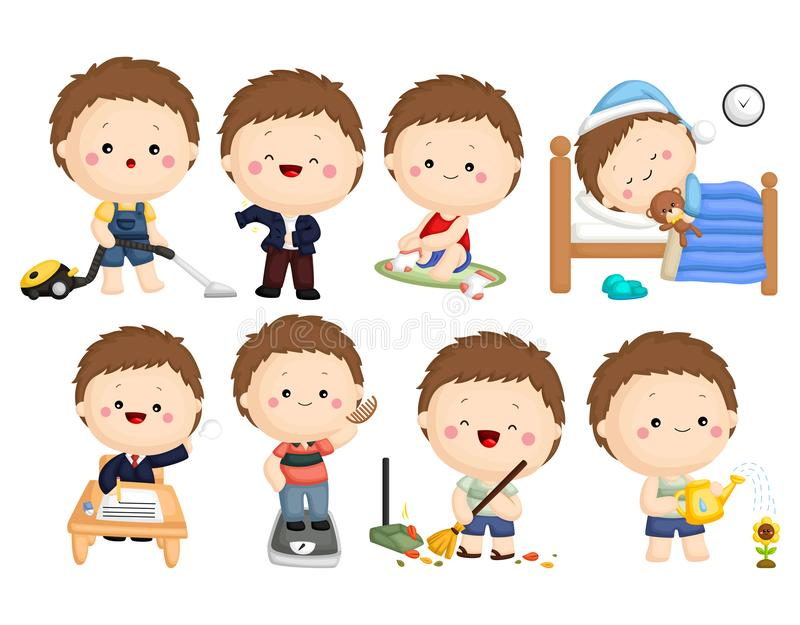 Activity Vector Set 2. A vector set of many activities done by a boy royalty free illustration