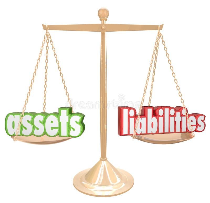 Activos contra la escala de las palabras de las responsabilidades que compara cuenta de la riqueza del valor libre illustration