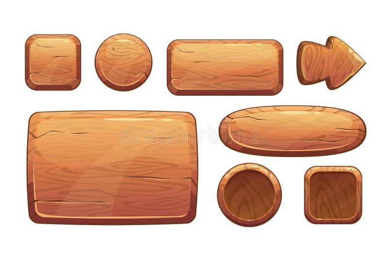 Activos de madera del juego de la historieta ilustración del vector