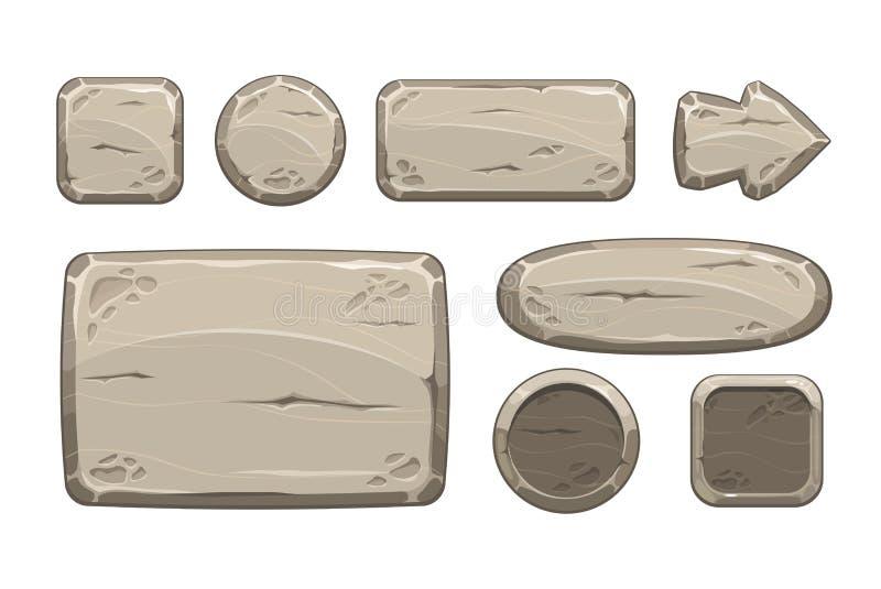 Activos de piedra del juego de la historieta fijados stock de ilustración