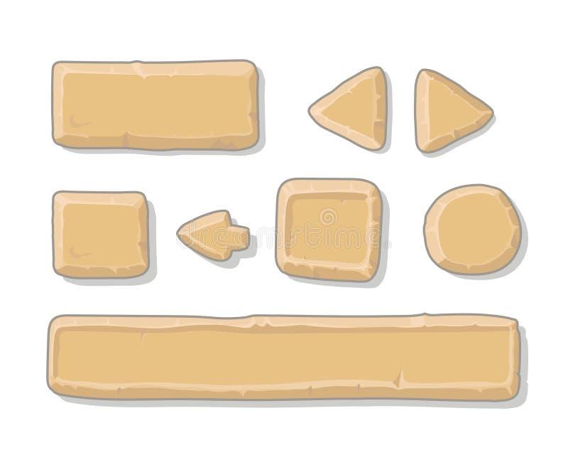 Activos de piedra del ui del juego de la historieta fijados, encendido stock de ilustración