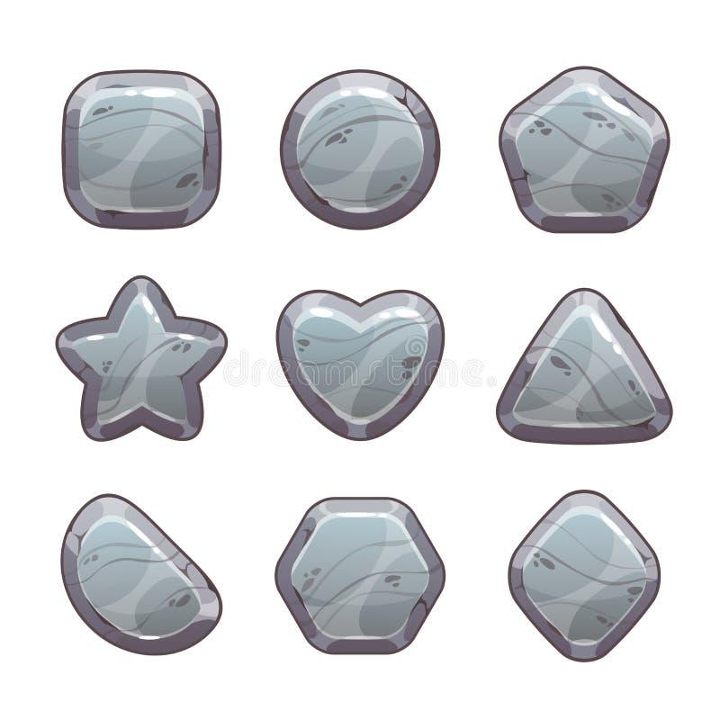 Activos de piedra grises de la historieta stock de ilustración
