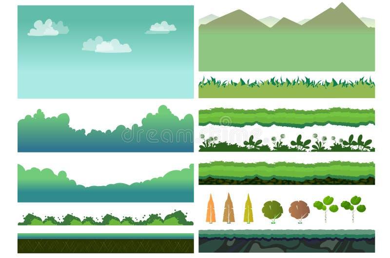 Activos del juego de Platformer ilustración del vector