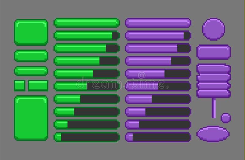 Activos del juego, GUI del arte del pixel stock de ilustración