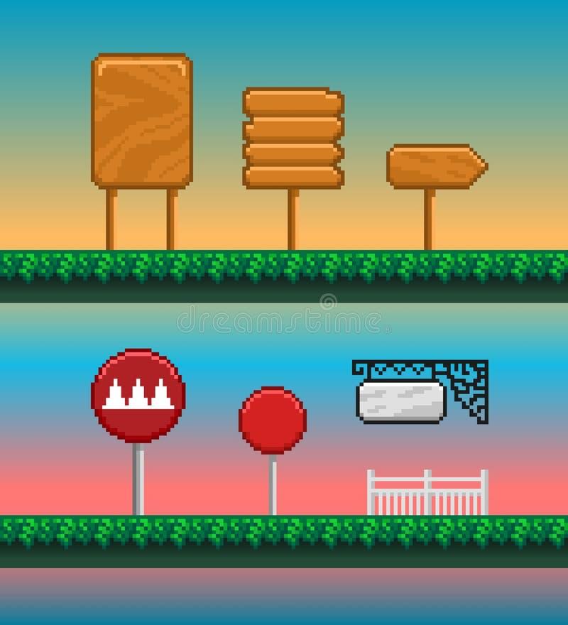 Activos del juego, GUI del arte del pixel ilustración del vector
