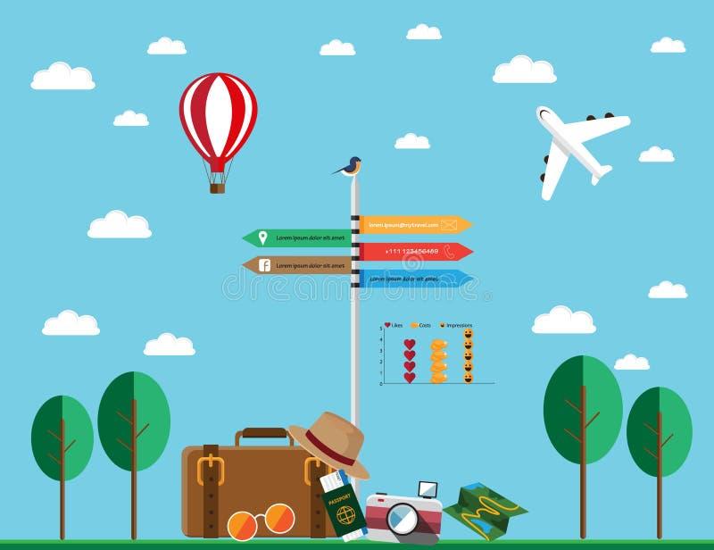 Activos planos del viaje del diseño stock de ilustración