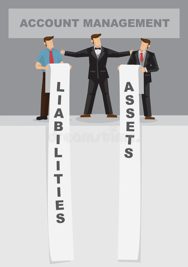 Activos y responsabilidades por la administración de cuentas para el negocio Carto ilustración del vector