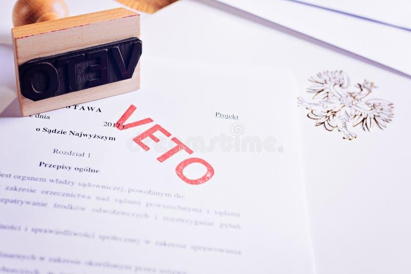 Acto polaco de la ley con el sello rojo del veto imagen de archivo libre de regalías