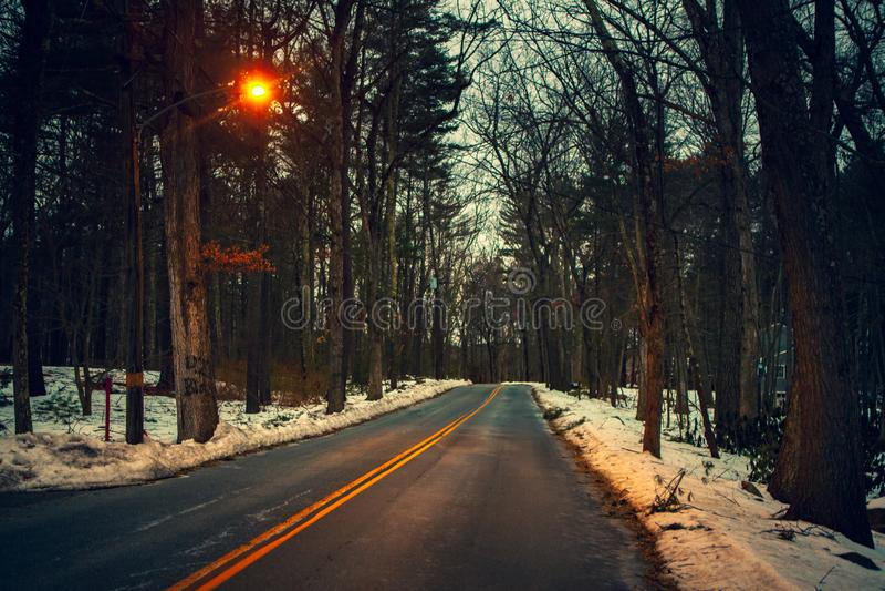 Acton, Vereinigte Staaten, am 27. Februar 2019 Waldweg mit doppelter gelber Linie in der Winterzeit, Massachusetts, Vereinigte St lizenzfreie stockfotos