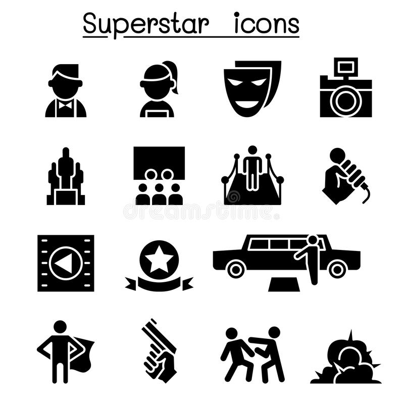 Actor, Actress, Celebrity, Super star icon set vector illustration