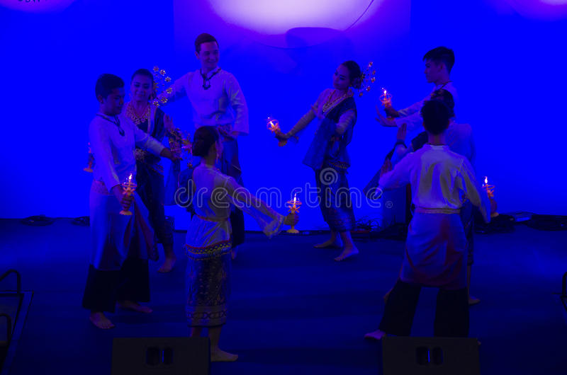 Actor and actress thai people dance dancing thai style for show. People on state at Mother`s Day festival on August 5, 2016 in Ayutthaya,Thailand royalty free stock photos