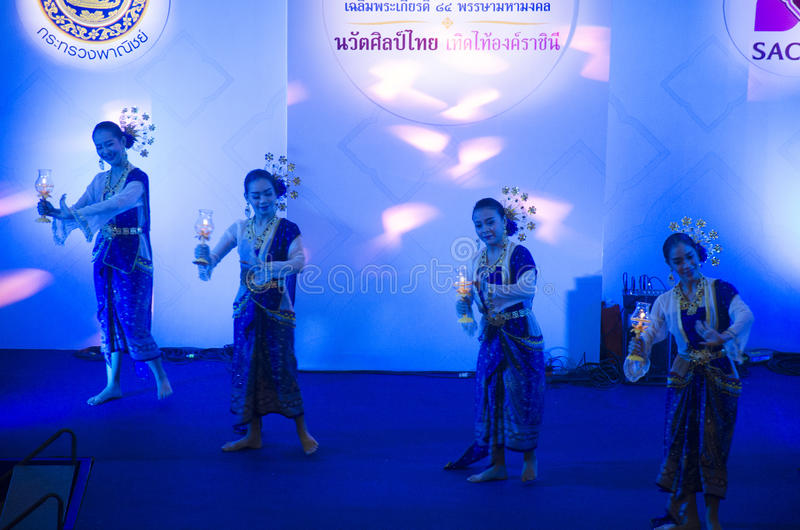 Actor and actress thai people dance dancing thai style for show. People on state at Mother`s Day festival on August 5, 2016 in Ayutthaya,Thailand stock photography