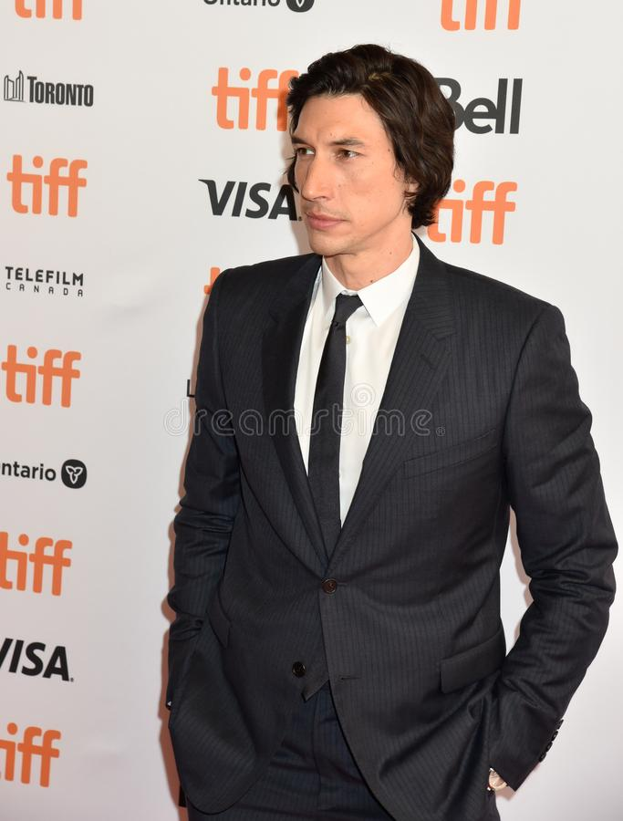 Adam Driver at premiere for Marriage Story in toronto. Actor Adam Driver at premiere at TIFF2019 for both The Report movie and Marriage Story . Also plays as royalty free stock image