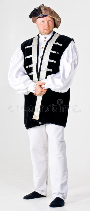 Actor as landlord. A theatrical actor dressed up as a landlord royalty free stock photography