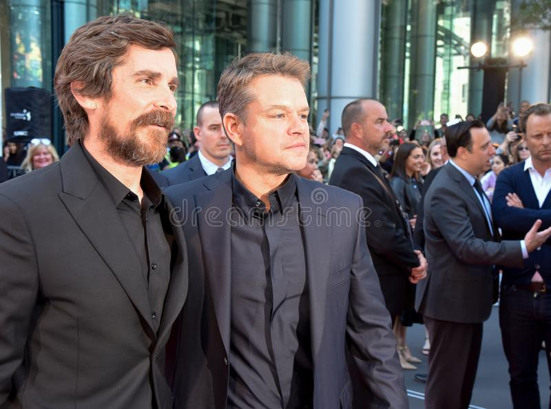 Actor Christian Bale and Matt Damon at movie premiere of Ford v Ferrari at Toronto International Film Festival 2019. Actor Christian Bale talented actor on red royalty free stock photo