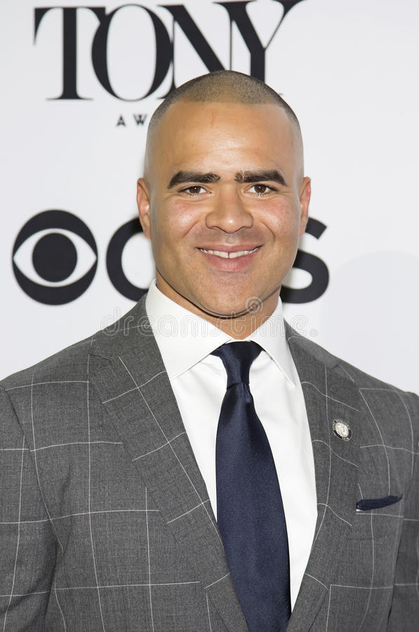 Actor Christopher Jackson. Arrives for the 70th Annual Tony Awards Meet the Nominees press reception. The event was held at the Diamond Horseshoe at the stock images