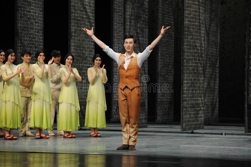 The actor curtain call-The end of dance drama-Shawan events of the past. Guangdong Shawan Town is the hometown of ballet music, the past focuses on the stock photo