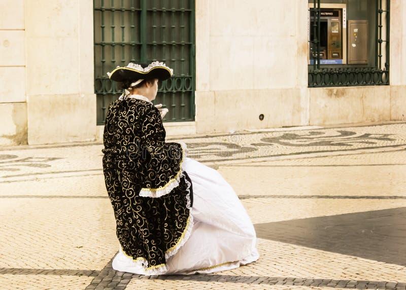 Actor de la calle en Lisboa, Portugal imágenes de archivo libres de regalías