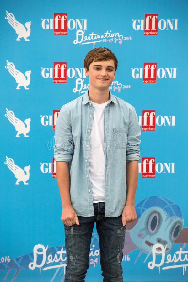Actor Dean Charles Chapman. Giffoni Valle Piana, SA, ITALY - July 23, 2016: Actor Dean Charles Chapman on blue carpet present Fungus The Bogeyman during 46th royalty free stock photo