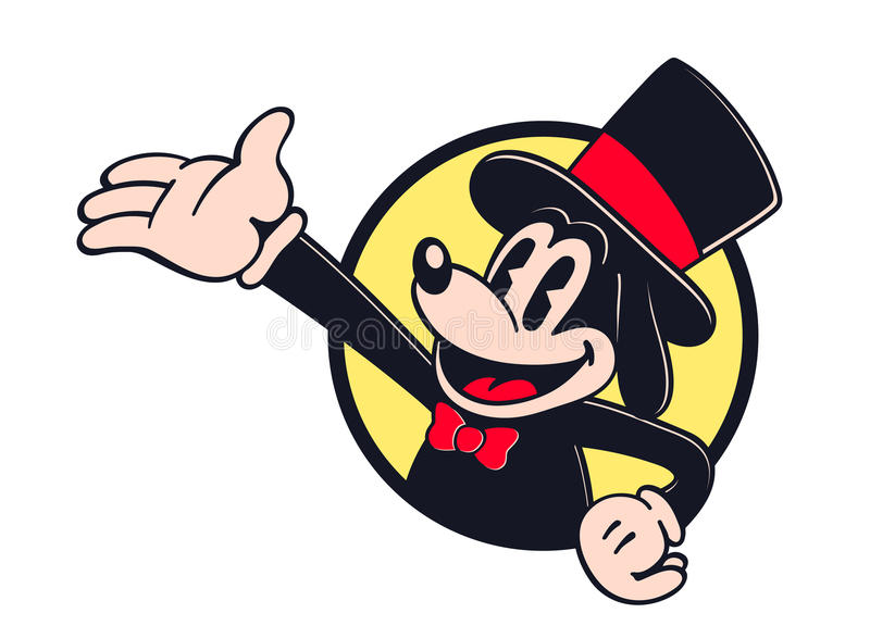 Actor del personaje de dibujos animados del vintage que muestra algo libre illustration