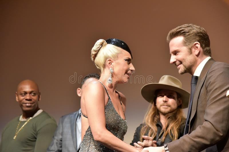Bradley Cooper and lady gaga at premiere of A Star Is Born at Toronto International Film Festival 2018. Actor and Director Bradley Cooper introducing Lady Gaga stock image