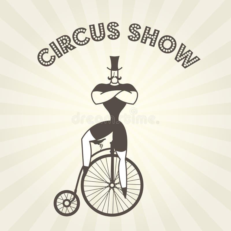 Actor en la bicicleta retra - dictador del circo en comino viejo del penique stock de ilustración