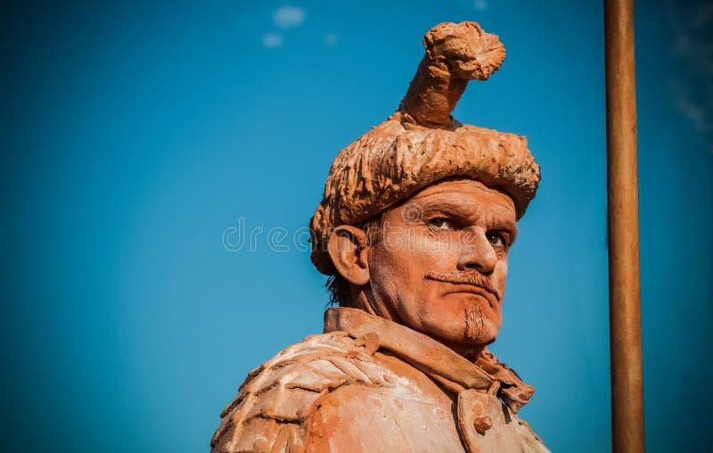 Actor humano de la calle de la estatua foto de archivo