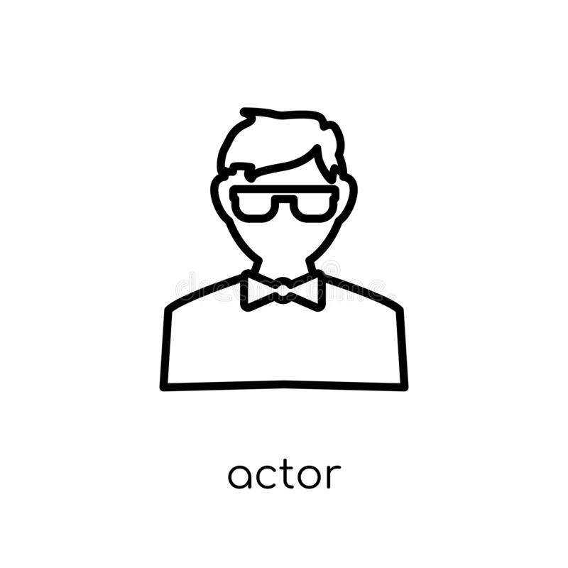 Actor icon. Trendy modern flat linear vector Actor icon on white royalty free illustration