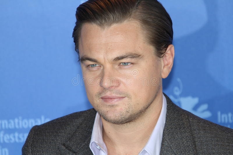 Actor Leonardo DiCaprio. BERLIN - FEBRUARY 13: Actor Leonardo DiCaprio attends the 'Shutter Island' Photocall during day three of the 60th Berlin Film Festival royalty free stock photography