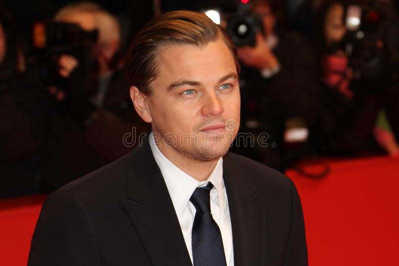 Actor Leonardo DiCaprio. BERLIN - FEBRUARY 13: Actor Leonardo DiCaprio attends 'Shutter Island' Premiere during day three of the 60th Berlin Film Festival at the stock photos