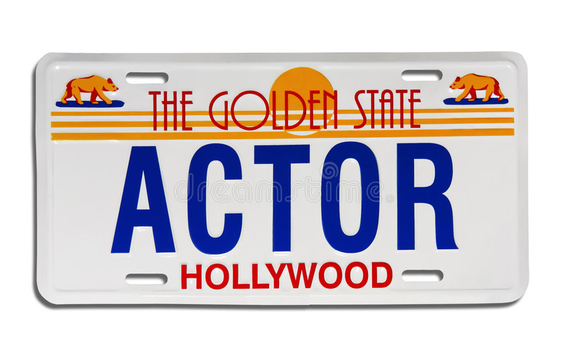 Actor license plate stock image