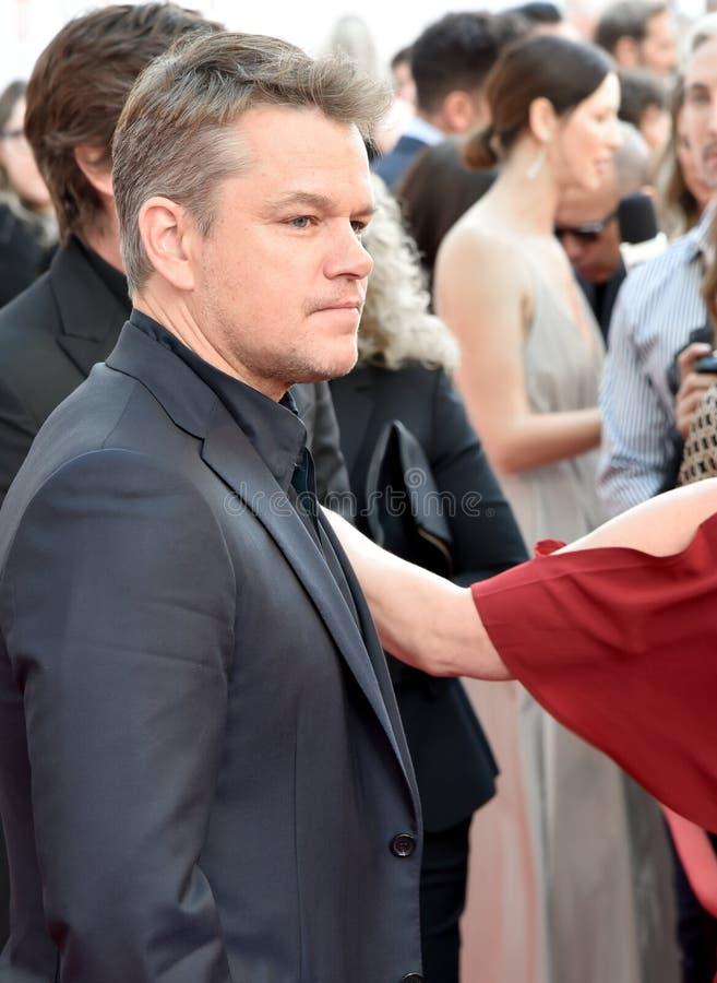Actor Matt Damon at movie premiere of Ford v Ferrari at Toronto International Film Festival 2019. Actor Matt Damon talented on red carpet in toronto for Ford v royalty free stock photography