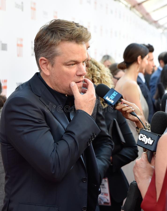 Actor Matt Damon på filmpremiären Ford mot Ferrari vid Toronto International Film Festival 2019 royaltyfri fotografi