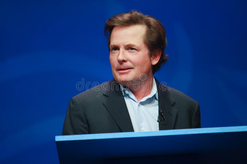 Actor Michael J. Fox levert een adres stock afbeelding