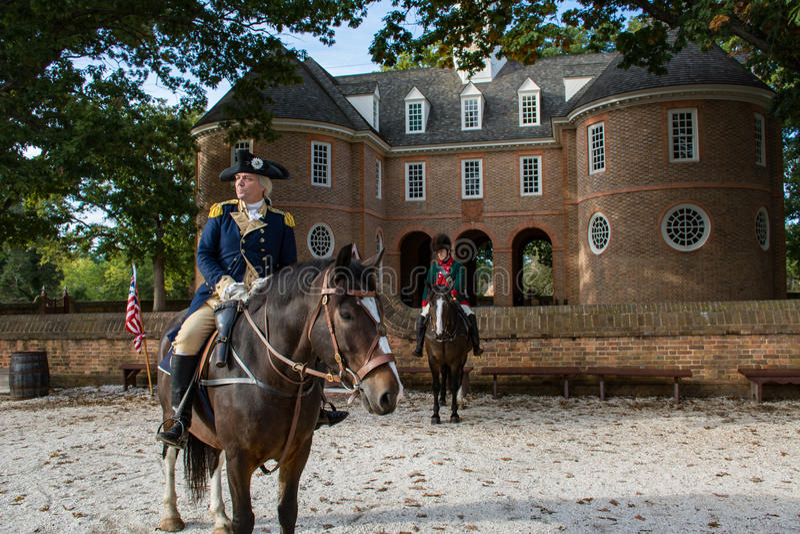 An actor portrays George Washington in historic Williamsburg Va royalty free stock photo