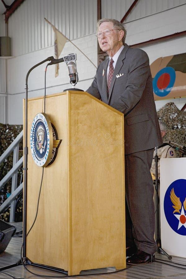Actor que retrata a presidente Franklin D. Roosevelt imagenes de archivo